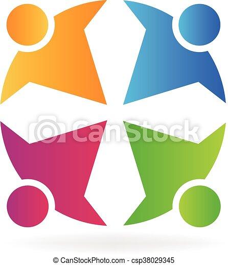 Teamwork people logo - csp38029345