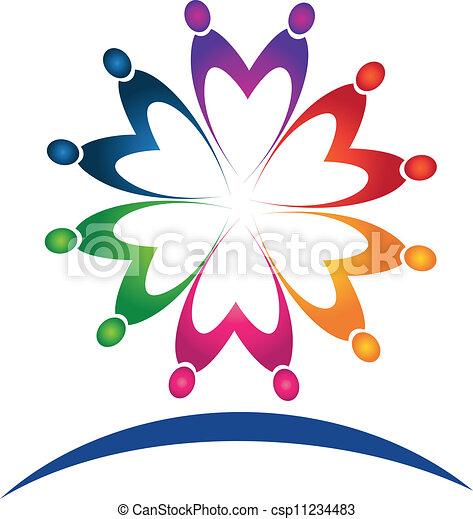 Teamwork people logo vector  - csp11234483
