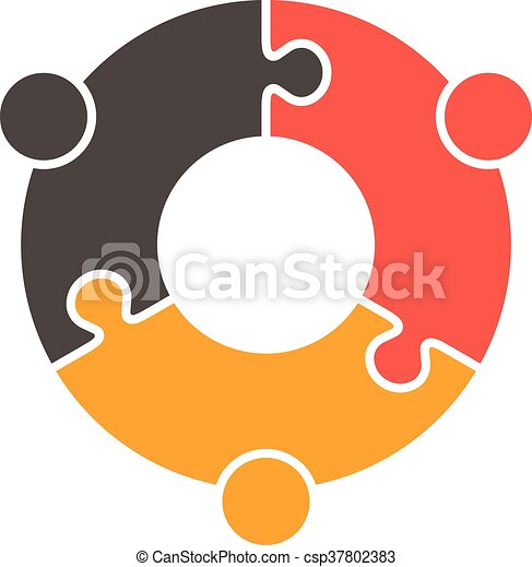 teamwork people puzzle three pieces vector graphic design vector rh canstockphoto co uk teamwork clip art images teamwork clip art images