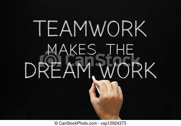 teamwork, praca, marki, sen - csp12924373