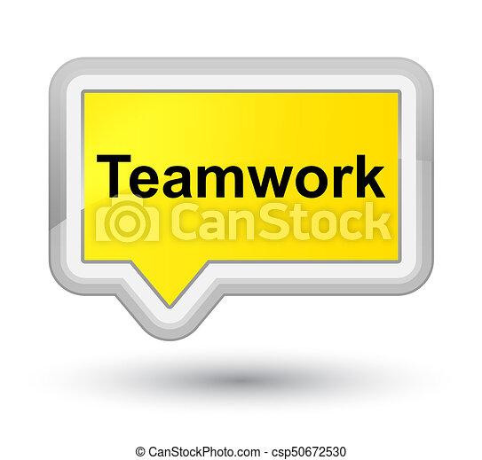 Teamwork prime yellow banner button - csp50672530