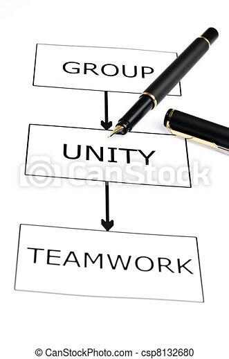 Teamwork  scheme and pen on white - csp8132680