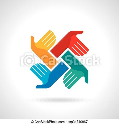 Teamwork symbol. Multicolored hands - csp34740967