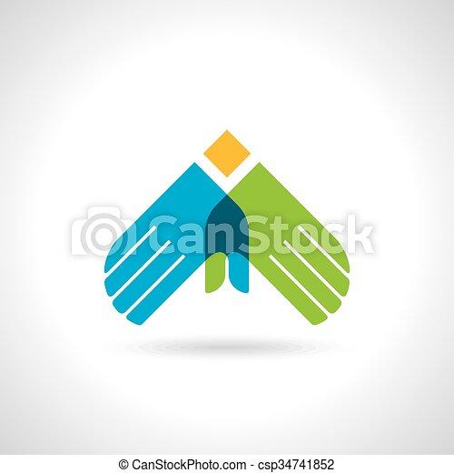 Teamwork symbol. Multicolored hands - csp34741852