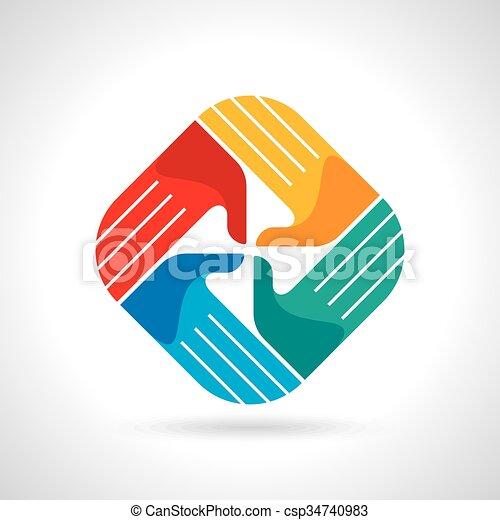 Teamwork symbol. Multicolored hands - csp34740983