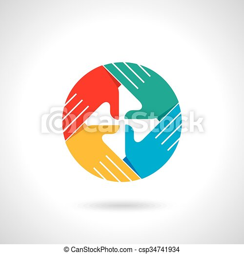 Teamwork symbol. Multicolored hands - csp34741934