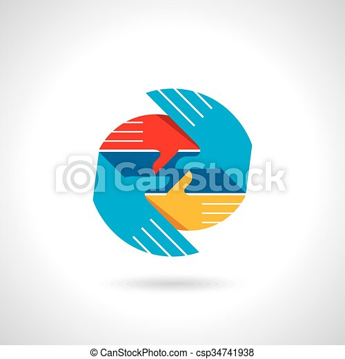 Teamwork symbol. Multicolored hands - csp34741938
