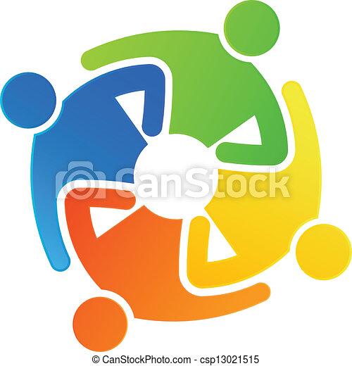 teamwork together 4 teamwork 4 people hugging together vector clip rh canstockphoto com