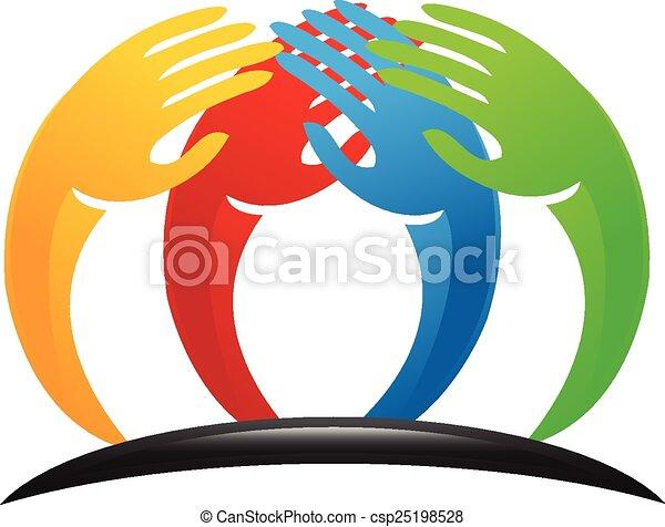 Teamwork Unity Hands Logo Vector Of Teamwork Stylized Hands People