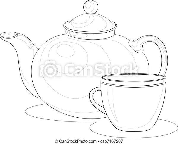 Teapot and cup, contours - csp7167207