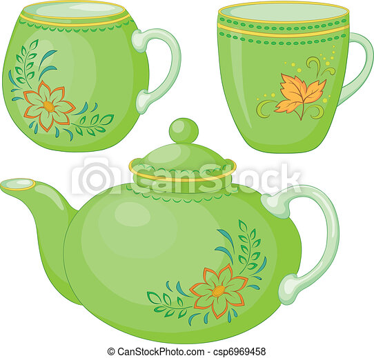 Teapot and cups - csp6969458