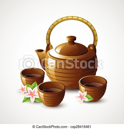 Teapot and cups. Vector illustration - csp28416461
