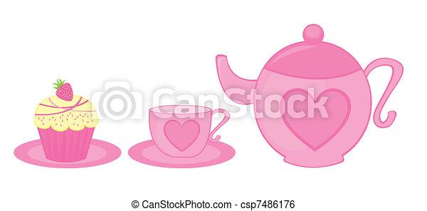 teapot, cup and cake - csp7486176