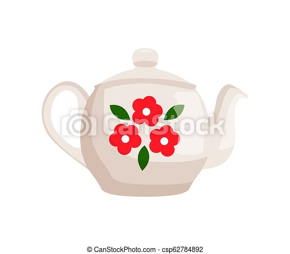 Teapot Decorated with Flowers Vector Illustration - csp62784892