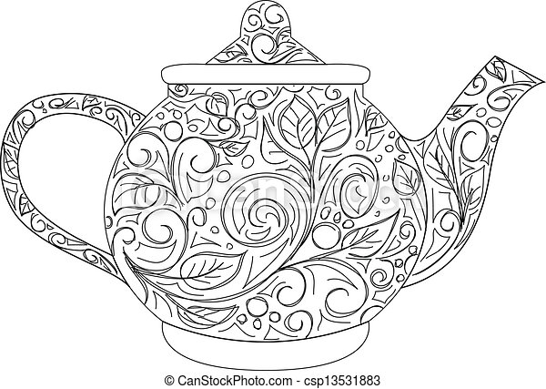 vector illustration of teapot