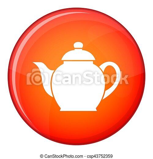Teapot icon, flat style - csp43752359