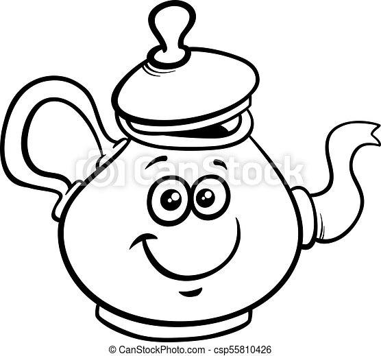 Teapot Or Kettle Cartoon Character Color Book Black And White