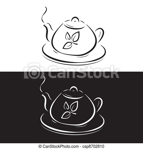 teapot with leaves symbol isolated on black and white - csp8702810