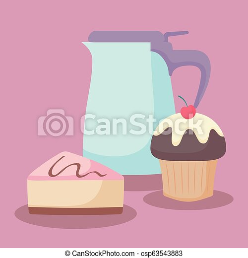 teapot with sweet cake portion - csp63543883