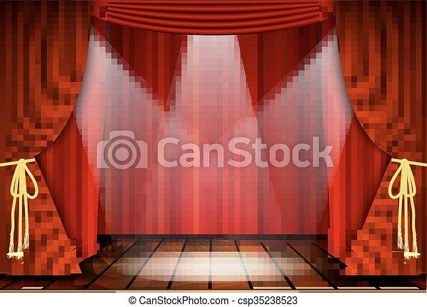teatral escena cortinas rojas vector - Cortinas Rojas