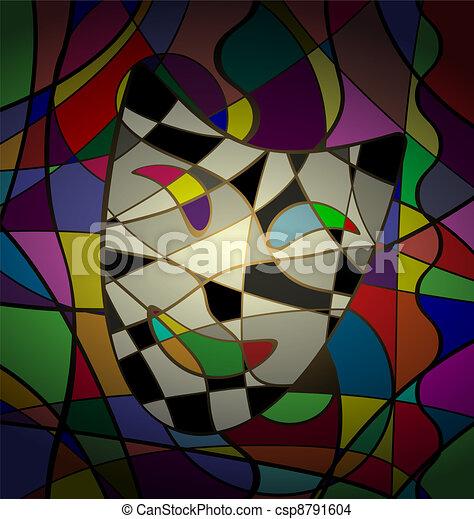 Trastorno abstracto de la máscara teatral camedy - csp8791604