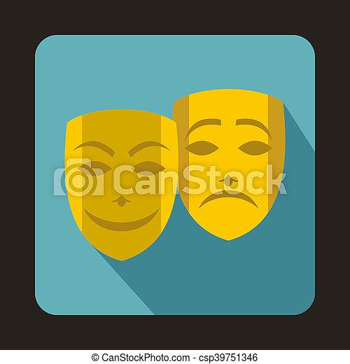 teatralny, komedia, tragedia upozorowuje, ikona - csp39751346