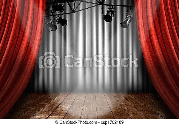 teatro, actuación, luces, rendimiento, proyector, etapa - csp1702189