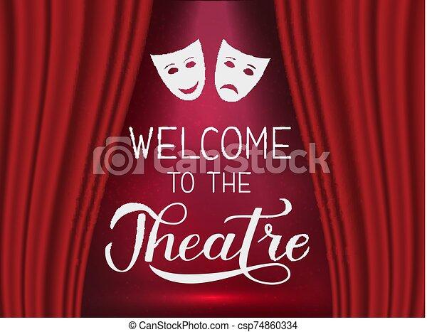 teatro, cartel, cortina, etapa, realista, colgadura, lettering., caligrafía, corregir, aviador, rojo, logotipo, playbill, mano, invitación, bienvenida, plantilla, spotlight., bandera, signo., fácil, vector - csp74860334