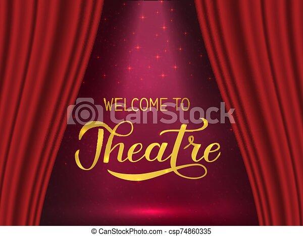 teatro, cartel, cortina, etapa, realista, colgadura, lettering., caligrafía, corregir, aviador, rojo, logotipo, playbill, mano, invitación, bienvenida, plantilla, spotlight., bandera, signo., fácil, vector - csp74860335