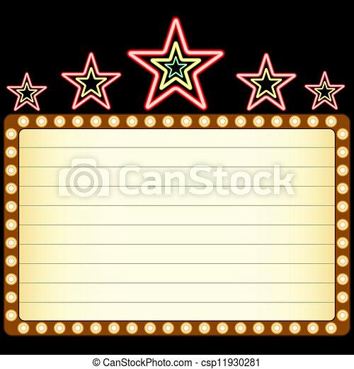 Película en blanco, teatro o casino marquee con estrellas de neón arriba - csp11930281