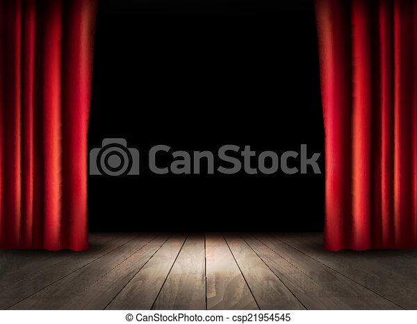 teatro, pavimento, legno, vector., curtains., rosso, palcoscenico - csp21954545