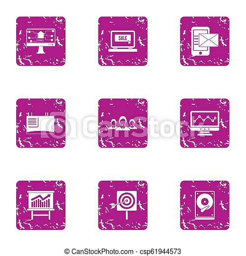 Tech sale icons set, grunge style - csp61944573