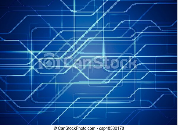 Tech sci-fi abstract blue circuit board background. vector ...