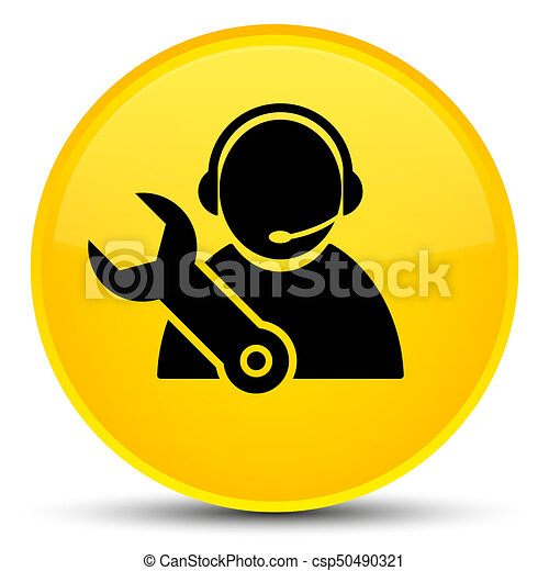 Tech support icon special yellow round button - csp50490321