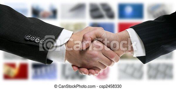 Tech tv video communication screen handshake - csp2458330