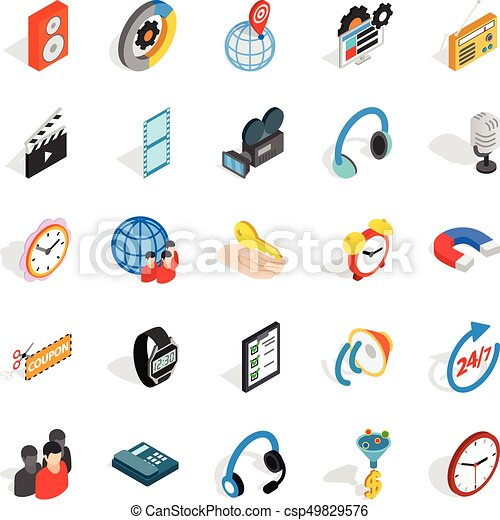 Technical detail icons set, isometric style - csp49829576