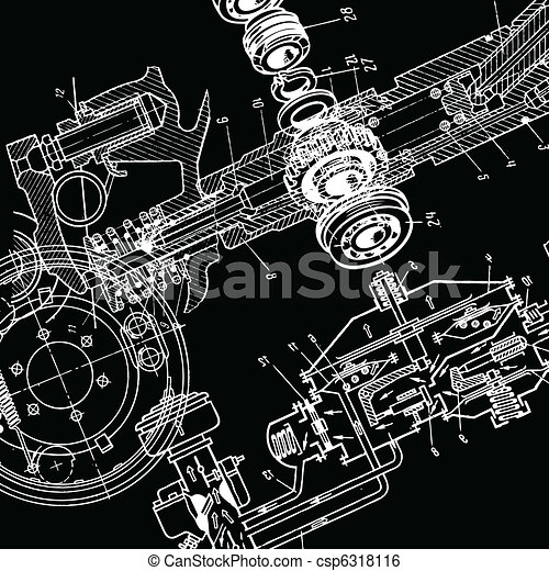 Technical drawing or blueprint on black background technical drawing vector malvernweather Choice Image