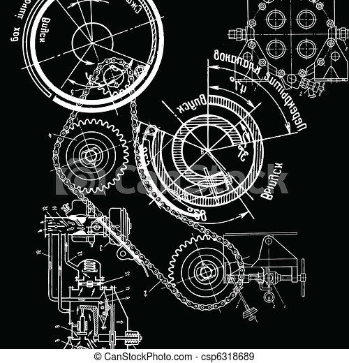 Technical drawing or blueprint on black background technical drawing csp6318689 malvernweather Choice Image
