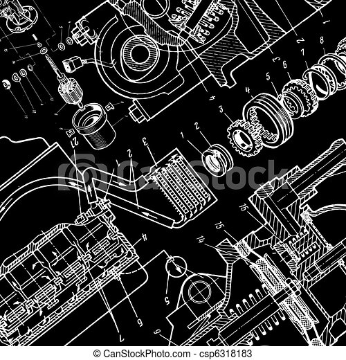Technical drawing or blueprint on black background technical drawing or blueprint on black background malvernweather Gallery