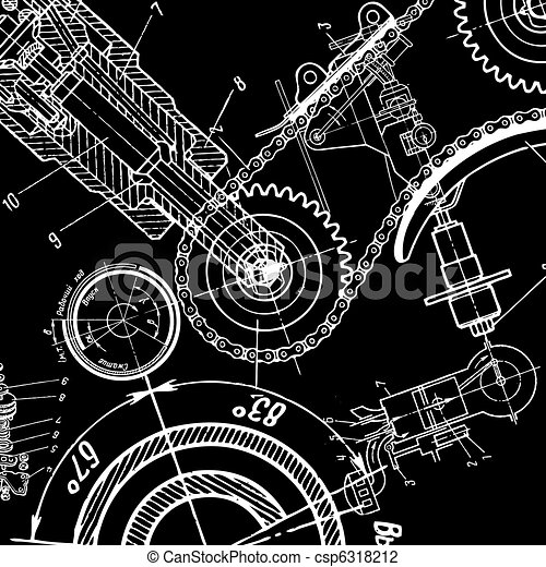 Technical drawing or blueprint on black background vector technical drawing csp6318212 malvernweather Gallery