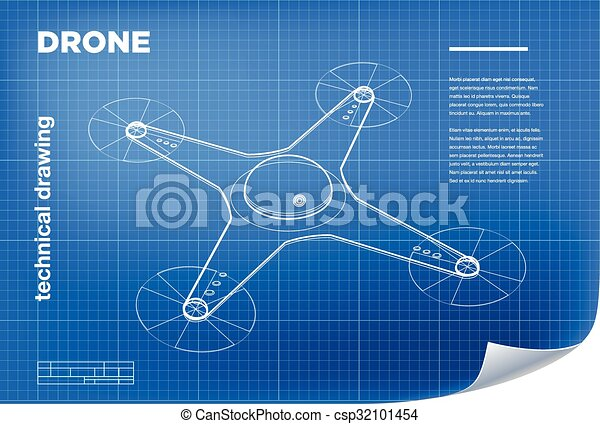 Technical Illustration With Vector Isometric Line Quadcopter Drone Drawing On The Blueprint