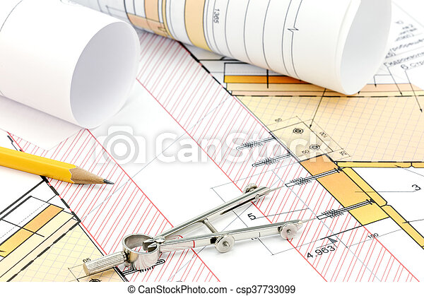 Technical Project Drawings With Rolls Of Architectural Blueprints