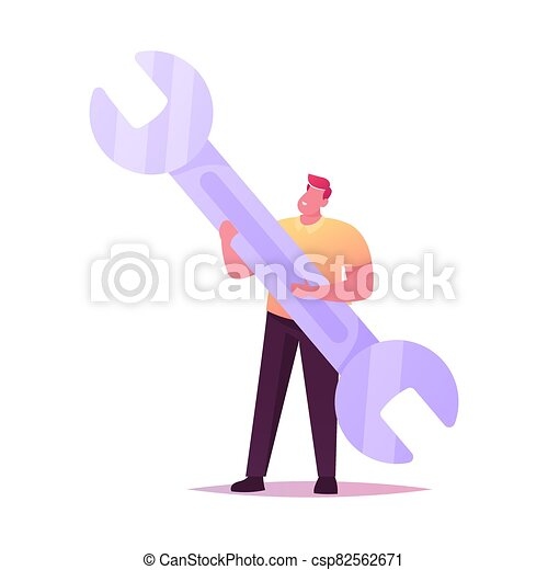 Technical Support Service. Tiny Man Character Hold Huge Wrench. Man with Spanner Repair Instrument for Fixing Broken Things, Construction Tool Isolated on White Background. Cartoon Vector Illustration - csp82562671