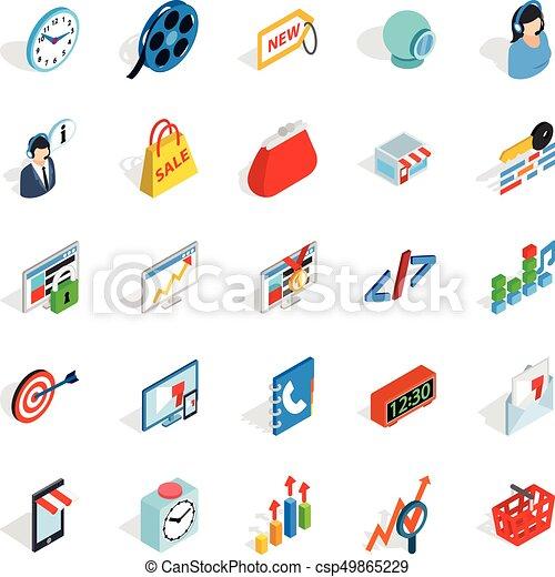 Technical trifle icons set, isometric style - csp49865229