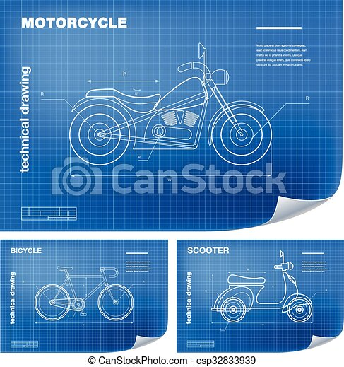 Technical wireframe illustrations with motorcycle bicycle technical wireframe illustrations with motorbike bicycle and scooter drawing on the blueprint malvernweather Images