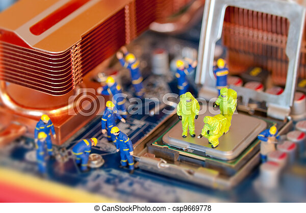 Technicians repairing computer - csp9669778