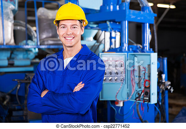 technicien, traversé, jeune, bras - csp22771452