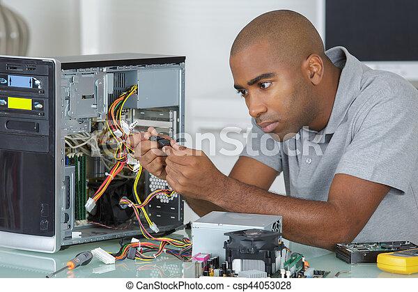 technicus, computer, werkende  - csp44053028