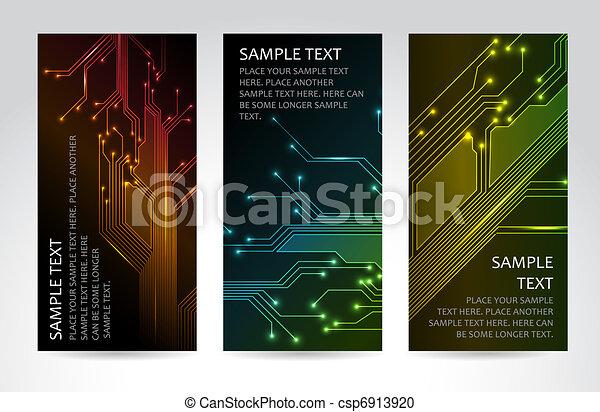 techniczny, chorągwie, komplet, nowoczesny - csp6913920