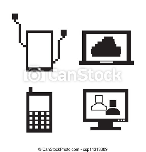 techniczny, pixel, ikony - csp14313389